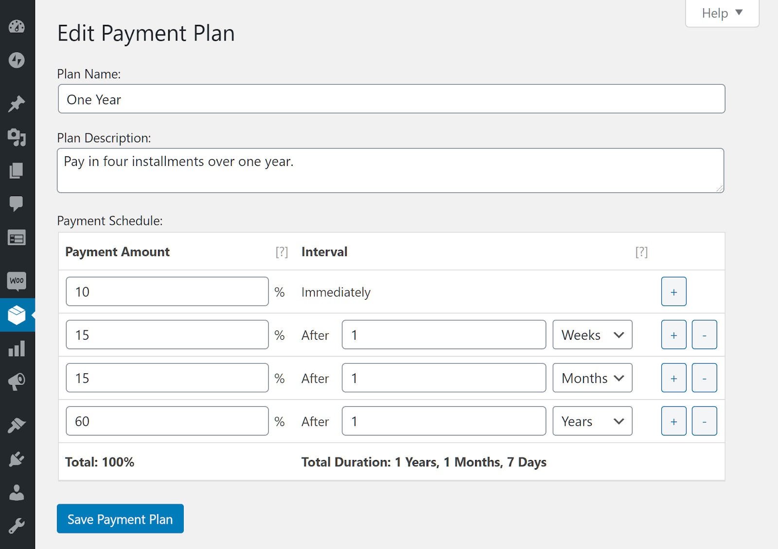 Payment plan settings.