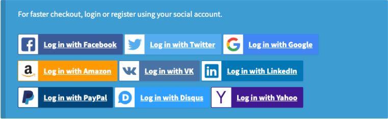 Social Login options.