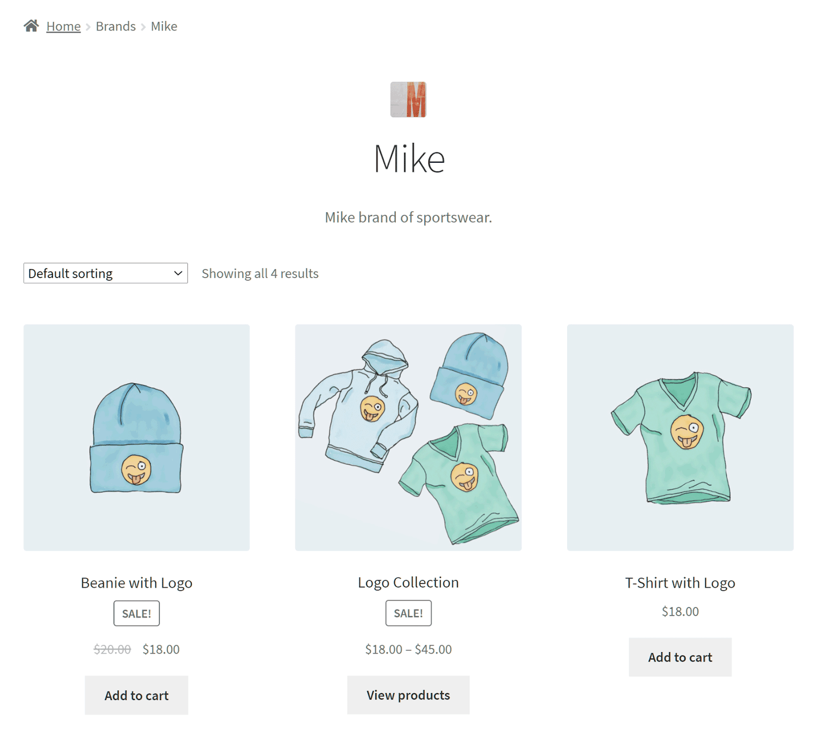 A page with all brands displayed.