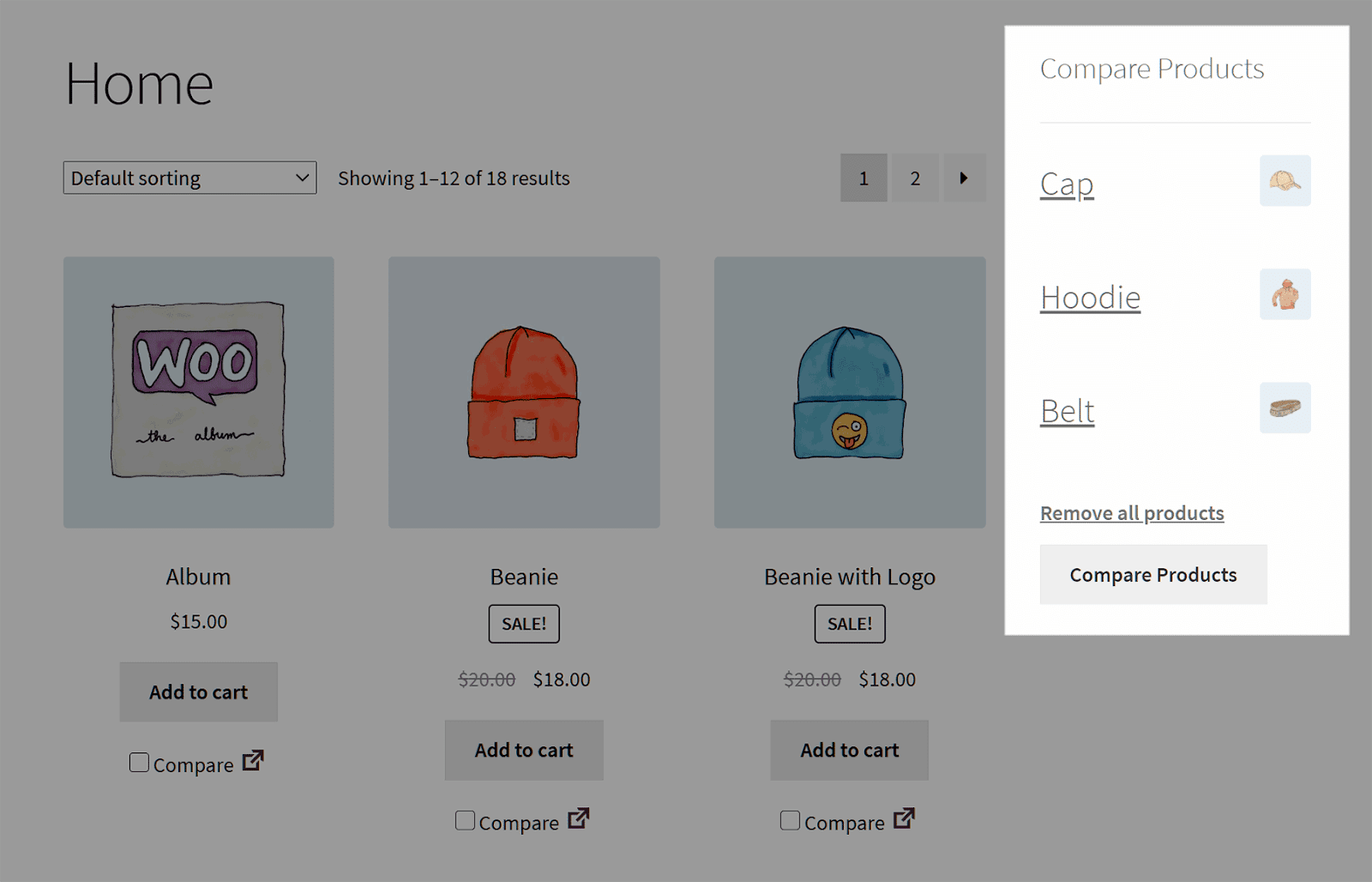 Products Compare sidebar.