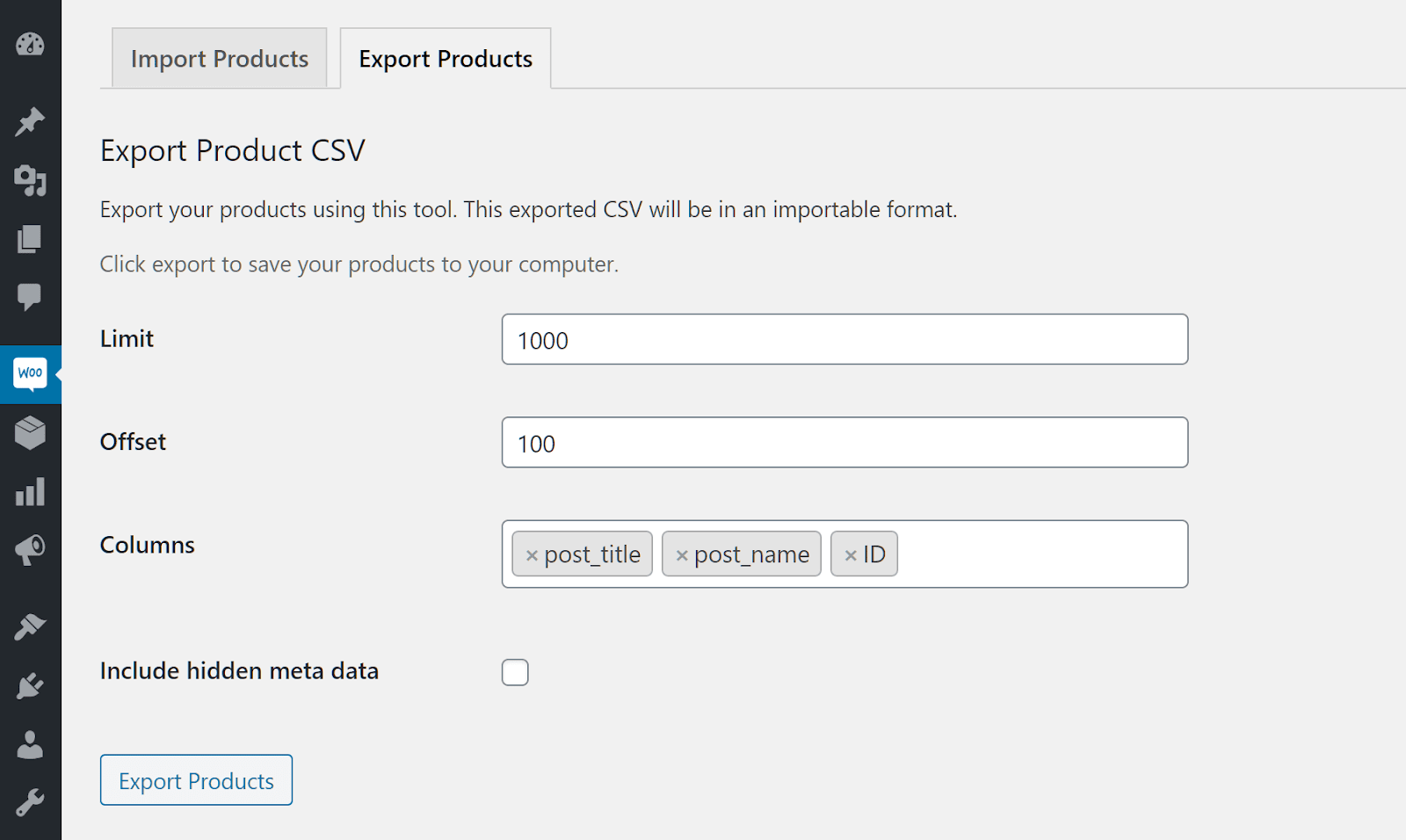 Product export example.