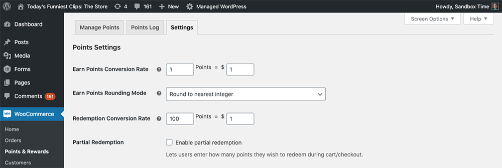 Settings for WooCommerce Points and Rewards.