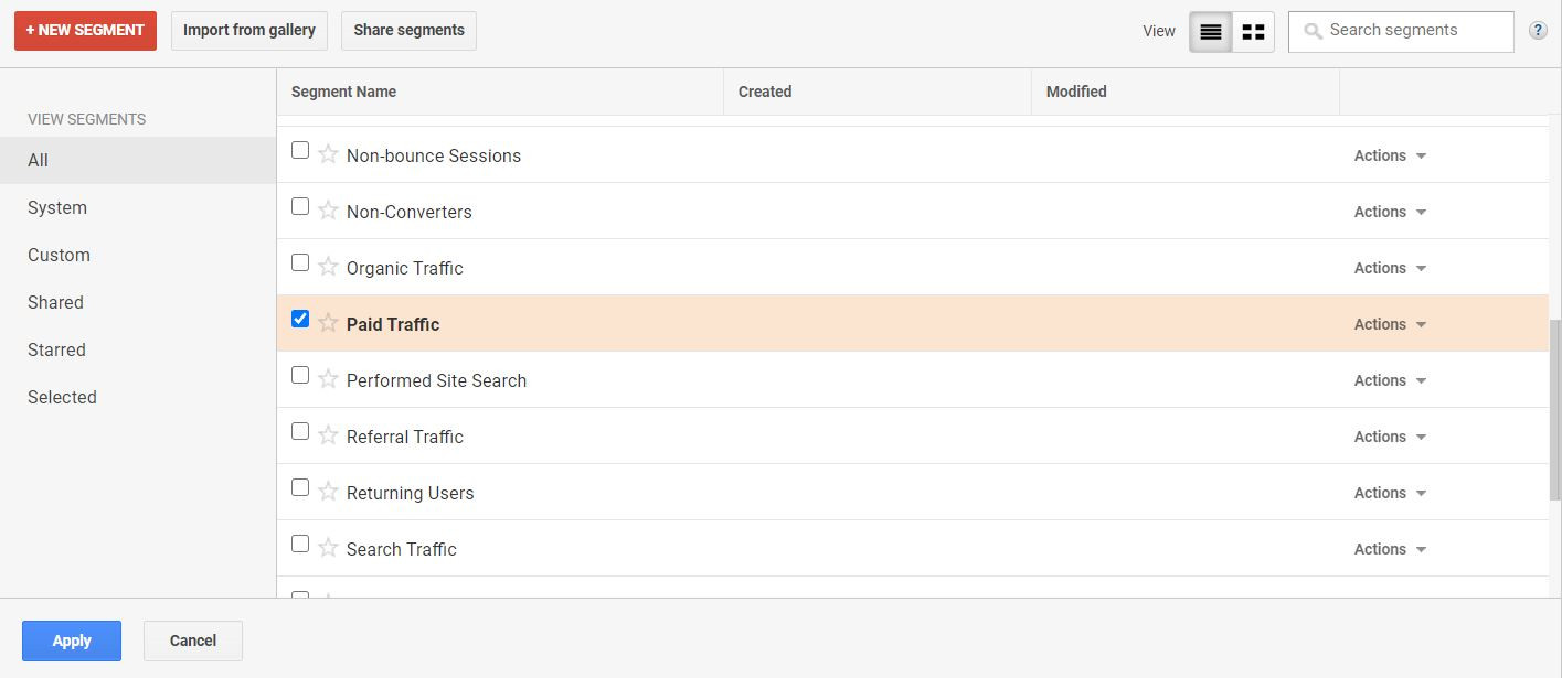 Adding a segment with Google Analytics Pro.