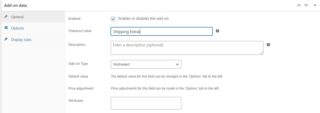 An example of setting up a checkout add-on.