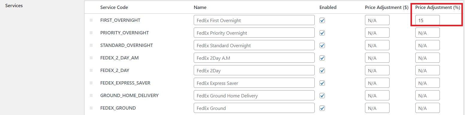 FedEx services listing.