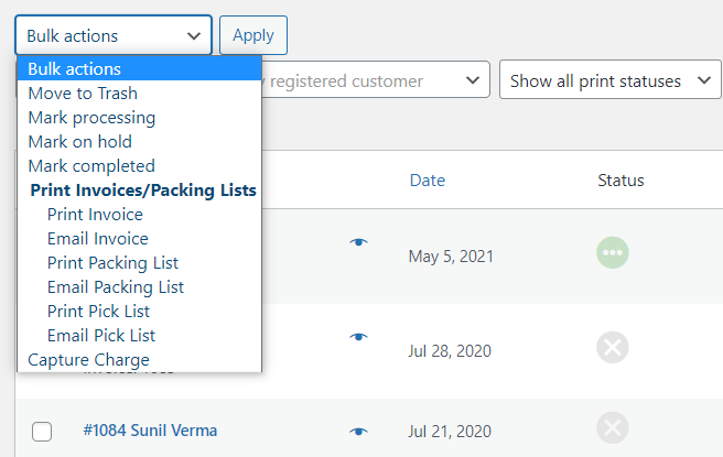 Bulk actions to create packing lists.