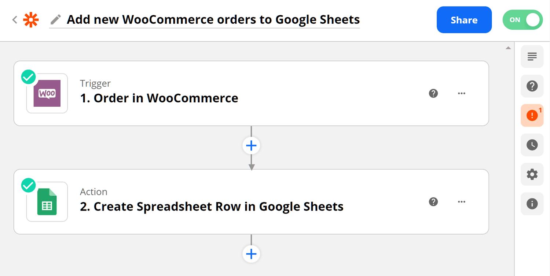 Zapier's Google Sheets-WooCommerce integration.