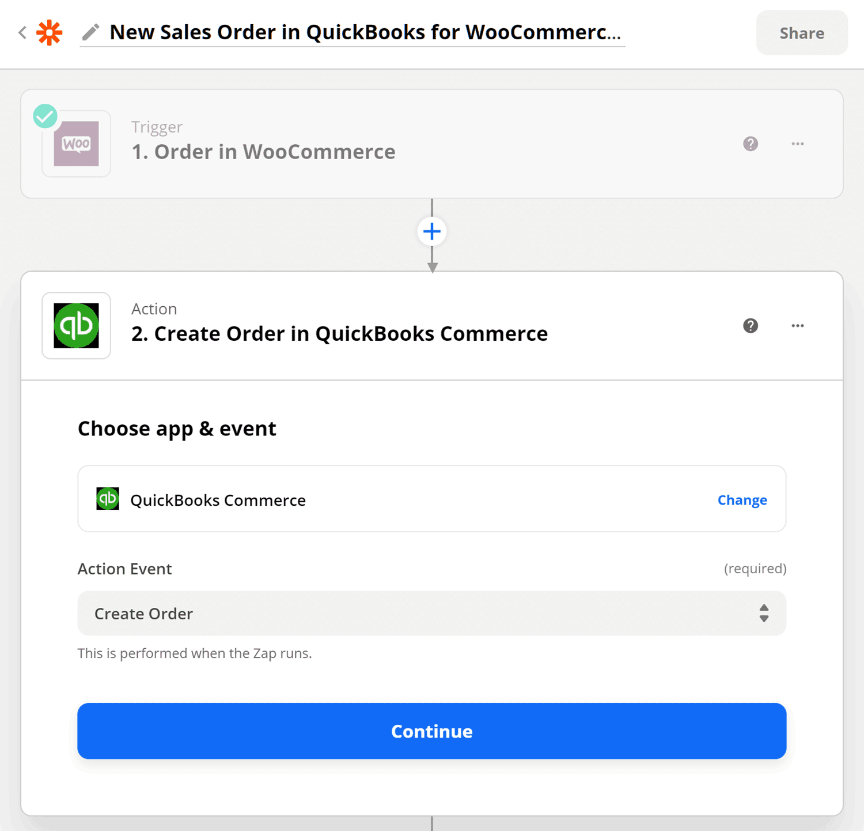Zapier's QuickBooks integration.