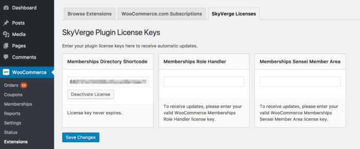 SkyVerge WooCommerce Plugin: Getting updates