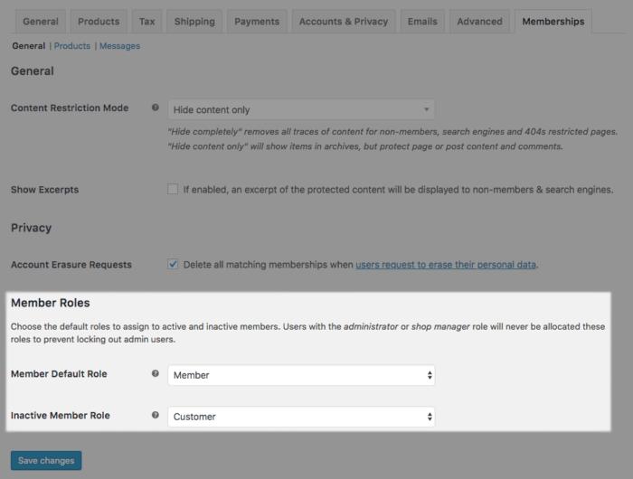 WooCommerce Memberships Role Handler Settings