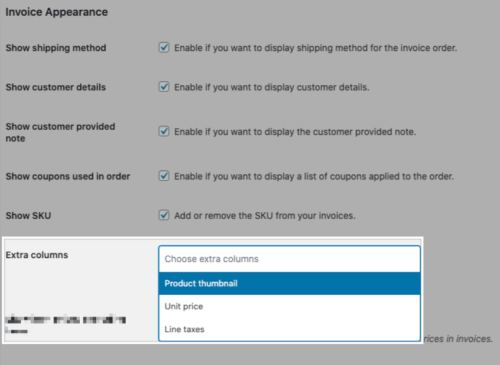 Adding extra columns to the invoice in the WooCommerce settings.