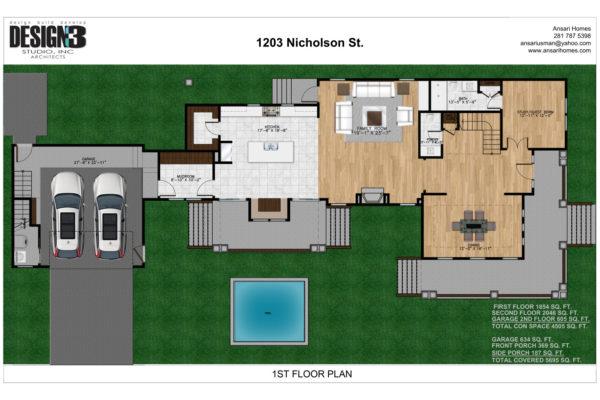 1203 NICHOLSON (LOT 18)- 1ST FLOOR PLAN