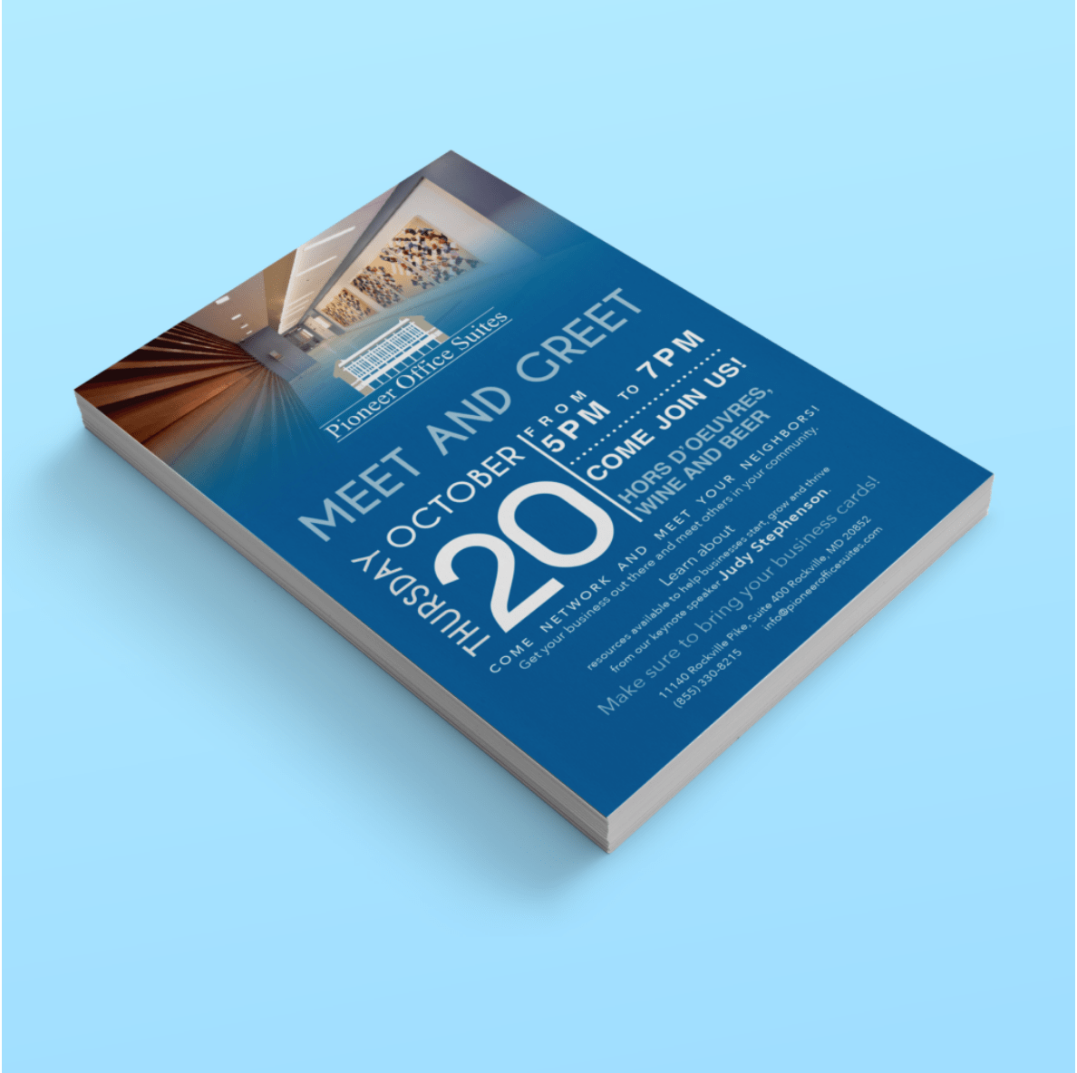 BoBella Branding Agency Flyer and sell sheet samples for Pioneer office suites