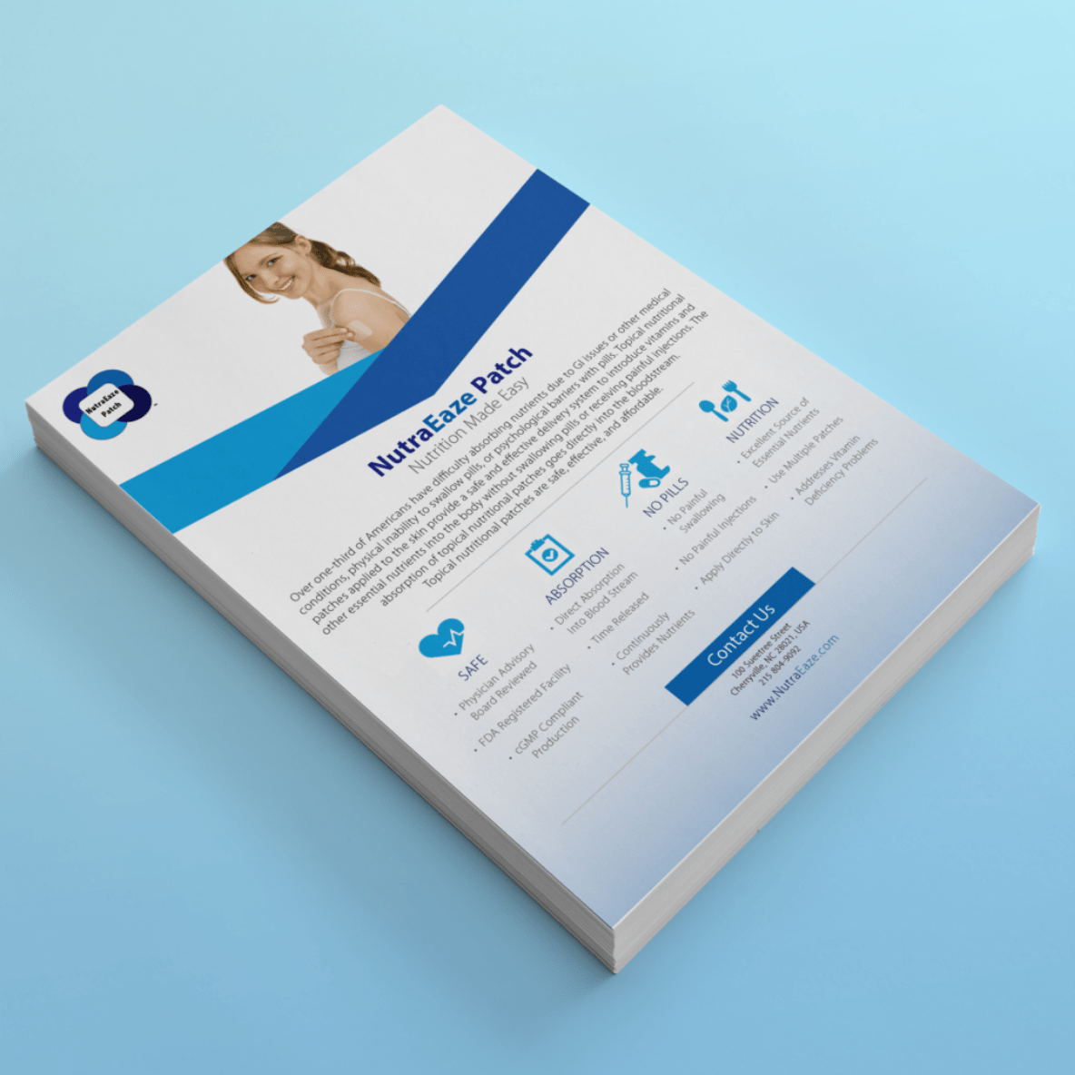 BoBella Branding Agency Flyer and sell sheet samples for NutraEaze Patch