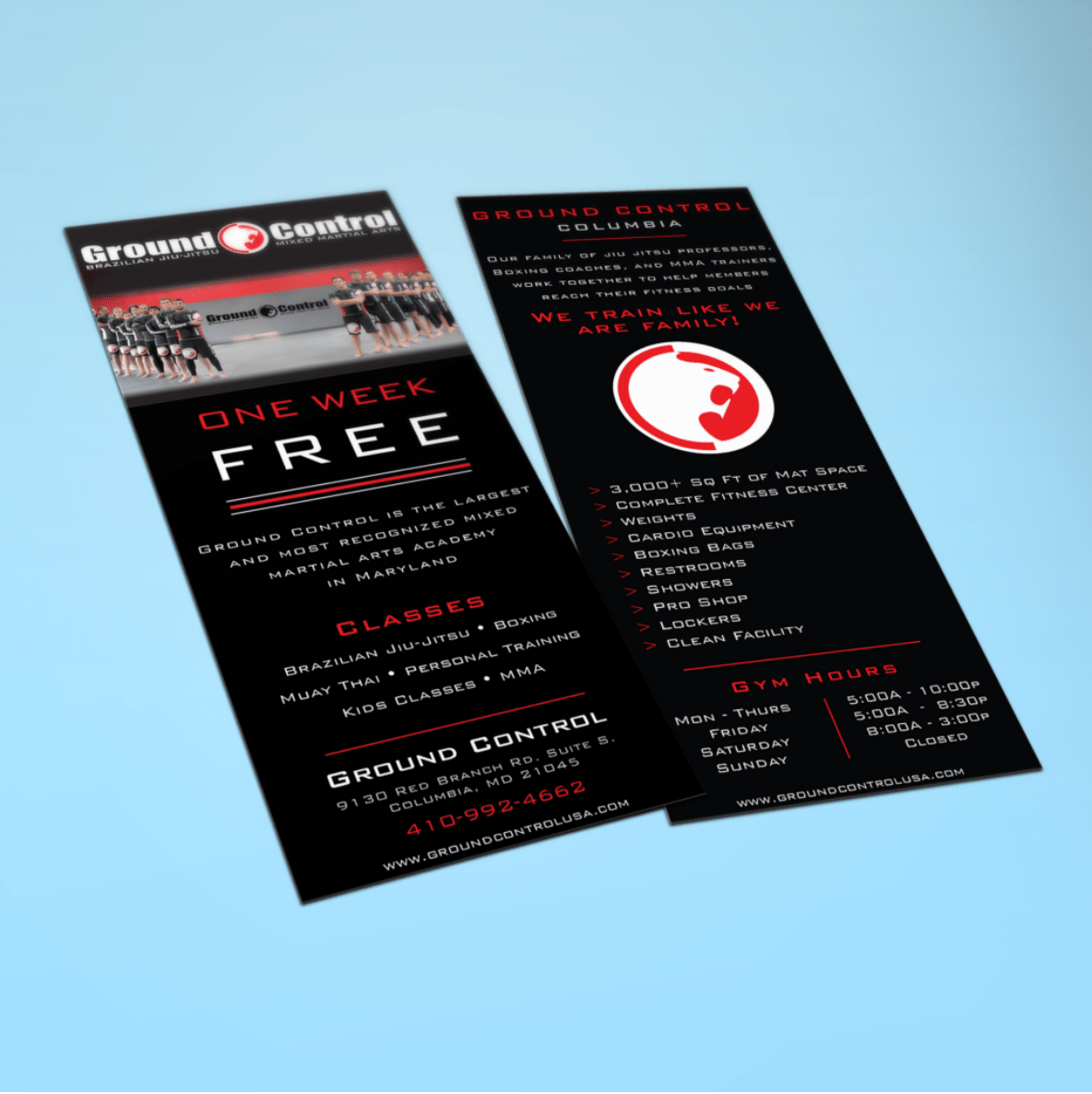 BoBella Branding Agency Flyers, brochures, and print work for gyms and fitness centers and Ground Control