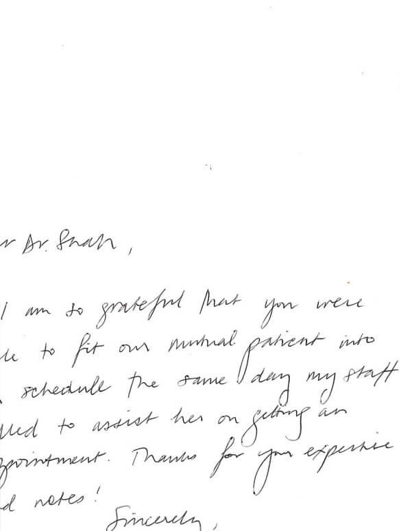 Patient Testimonials: Dear Dr. Shah