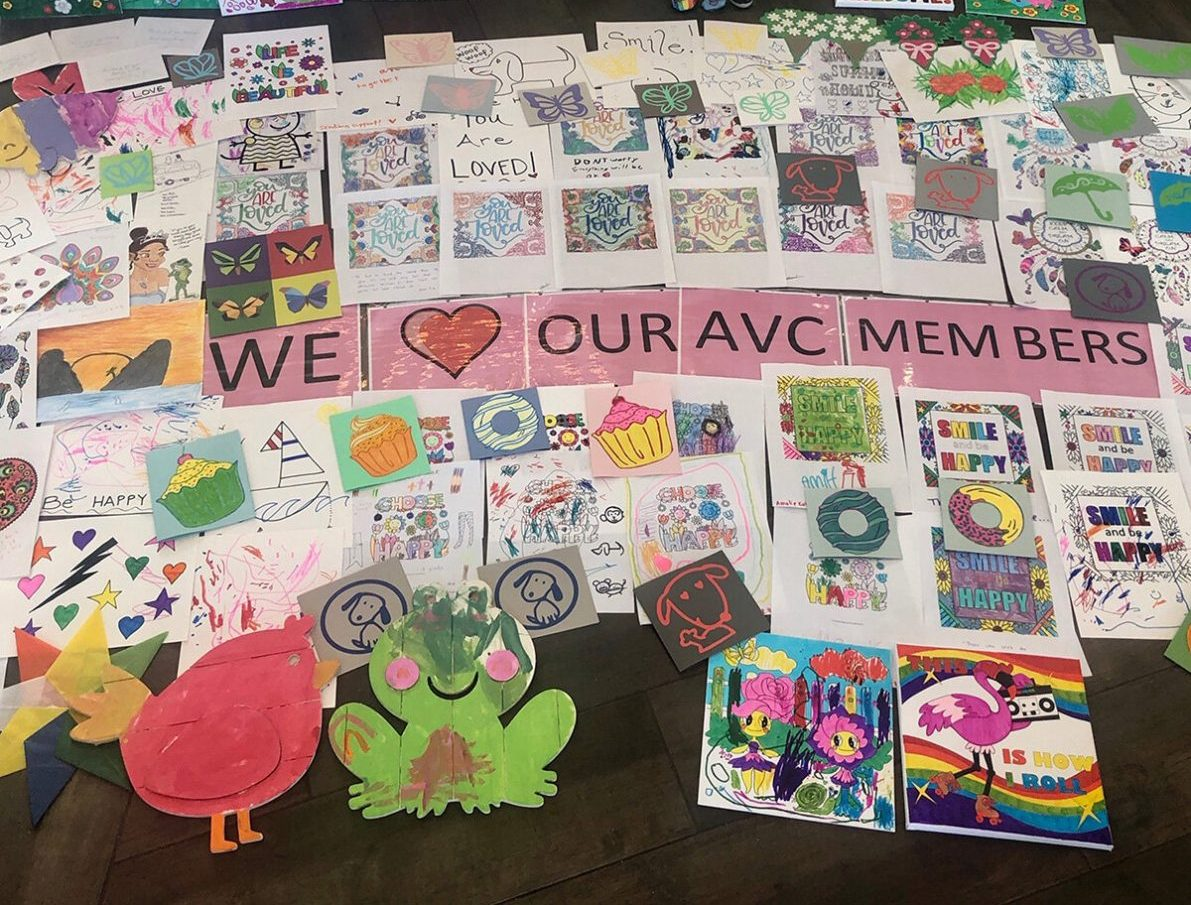Addison Village Club sends colorful and supporting letters and artwork that were created for our local nursing homes!