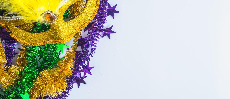 Mardi Gras, venetian carnival mask on a white background