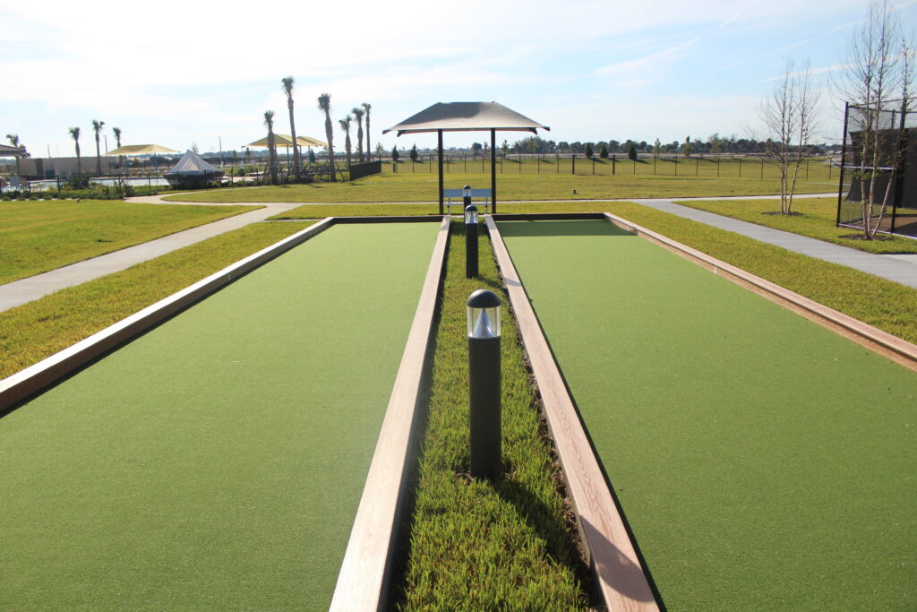Outdoor bocce ball court