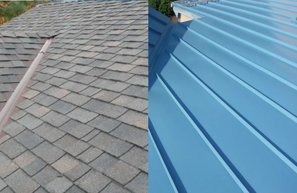 Comparison of sheet metal and shingles