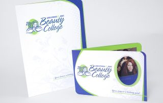 Sand Springs/Jenks Beauty College capabilities brochure and pocket folder