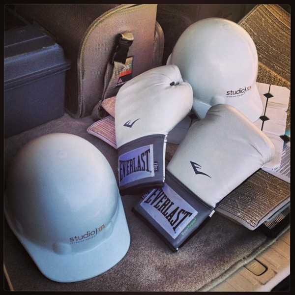 Kick boxing | Cardio Workout | Construction Zone | Hard Hat | Michelle Jennings Wiebe | Studio M Tampa | Rue Magazine | Interior Design