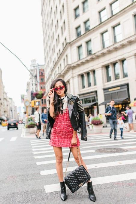 red tweed dress, flatiron, NYC, NYFW
