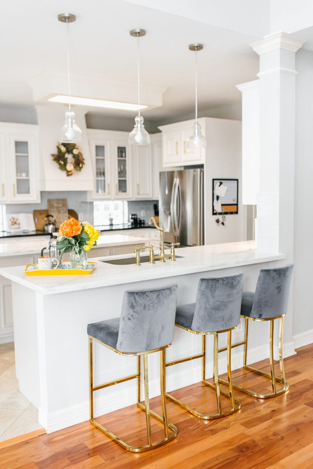 gold bar stools, velvet bar stools, kitchen remodel, white kitchen