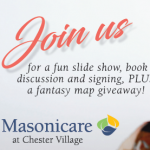 A LARGE SUPPORTIVE CROWD AT MASONICARE CHESTER VILLAGE's PUBLIC AUTHOR READING EVENT