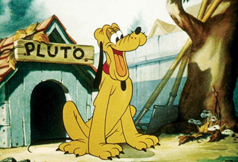 Pluto in front of his doghouse - All About Pluto - The Original Disney Dog