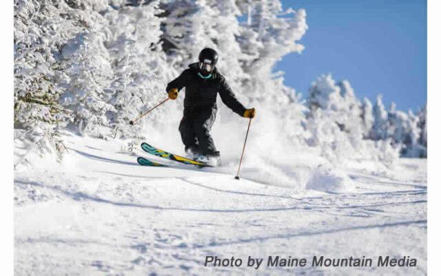 Skiing at Saddleback Mountain, Rangeley, Maine.  Photograph by Maine Mountain Media.