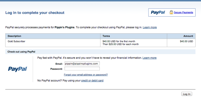 PayPal Recurring Checkout