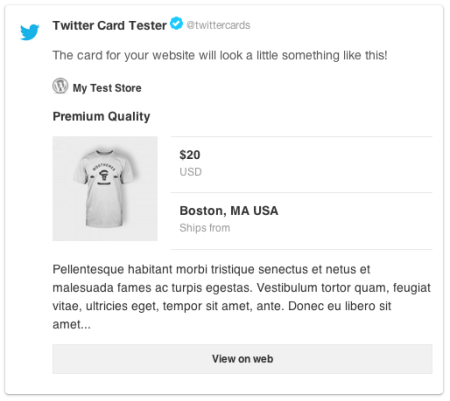 WPSSO Review   Twitter Product Cart