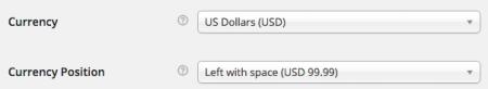 WooCommerce currency settings