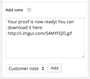 WooCommerce add customer note