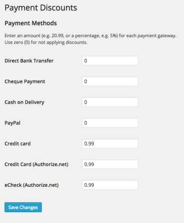 WooCommerce add payment gateway discount