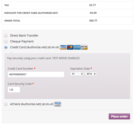 WooCommerce payment discount applied