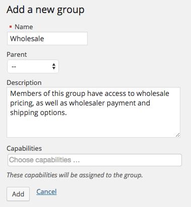 WooCommerce wholesale group