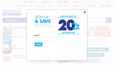 Bed Bath & Beyond Email signup
