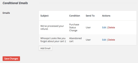 Easy Digital Downloads conditional emails list