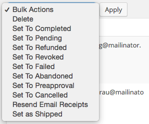 Easy Digital Downloads Simple Shipping: bulk actions