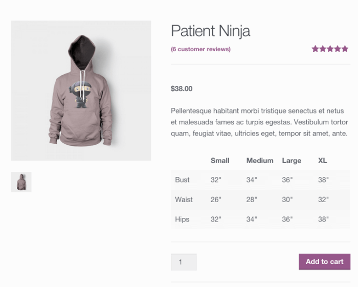 WooCommerce size guide shortcode displayed
