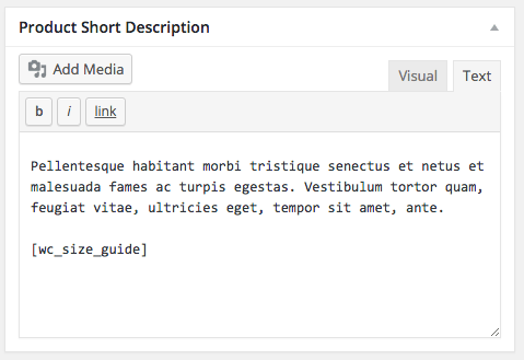 WooCommerce size guide shortcode