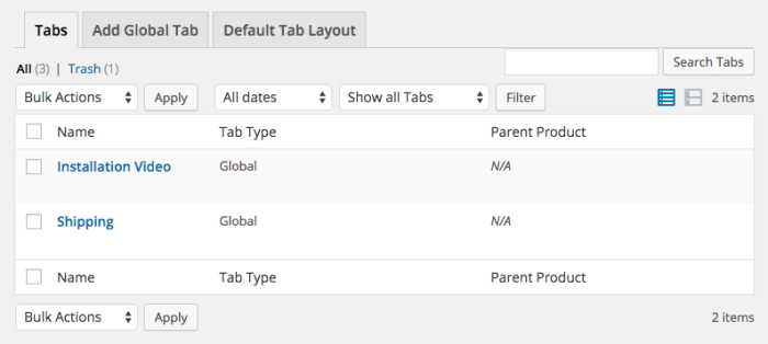 WooCommerce Tab Manager tabs