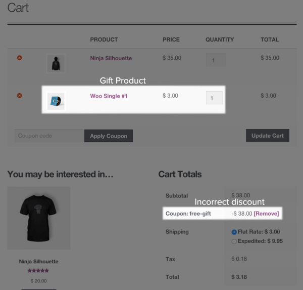 WooCommerce Free Gift Discounts: cart coupon applied