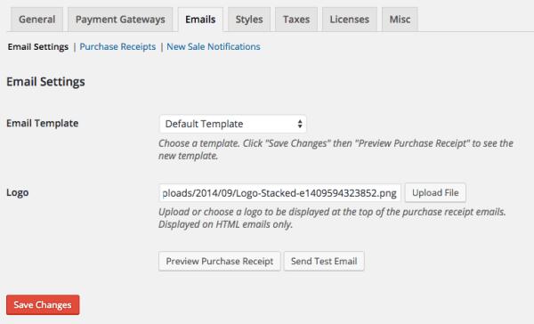 Easy Digital Downloads email settings