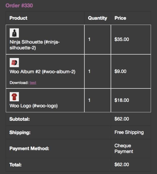 WooCommerce order emails skus added