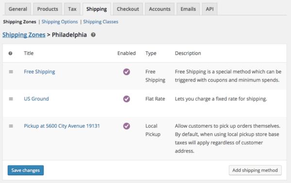 WooCommerce Shipping Zones: methods