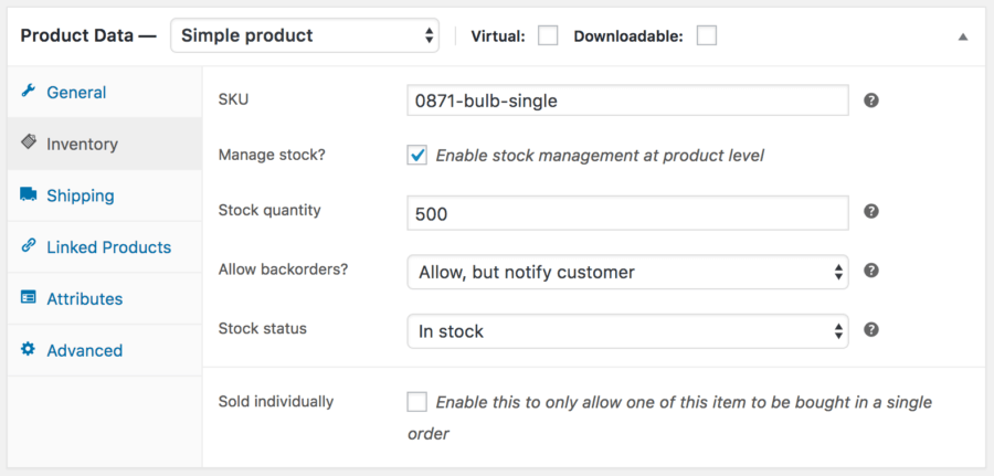 WooCommerce Product Bundle: Main product inventory
