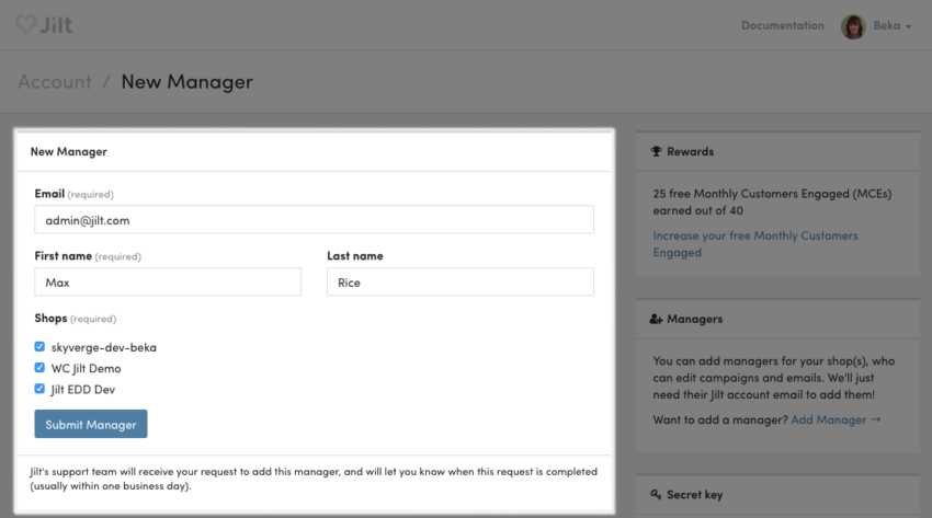 Jilt: add manager form